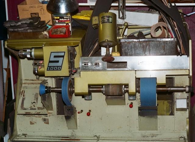 Shoe repair equipment at Edmonton Shoe Repair